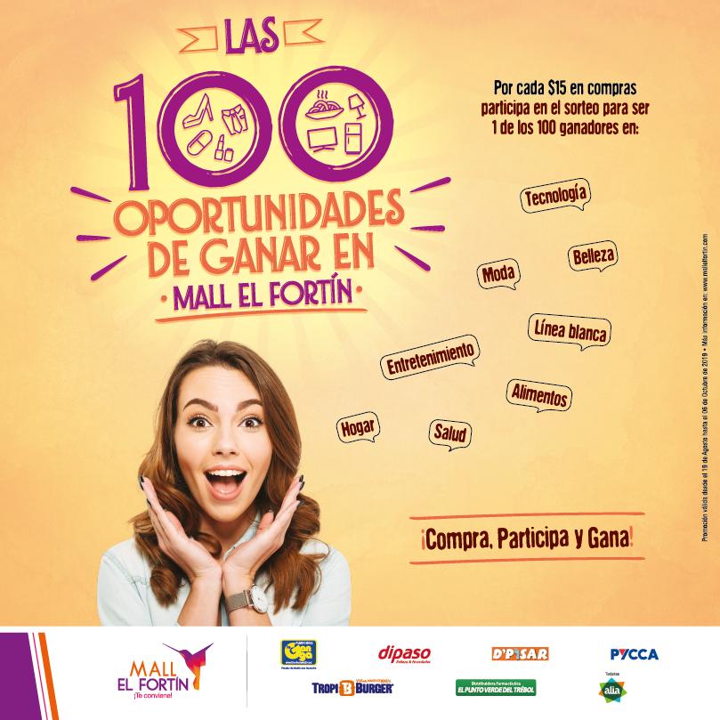 LAS 100 OPORTUNIDADES DE GANAR DESDE EL 19/08/2019 HASTA EL 06/10/2019
